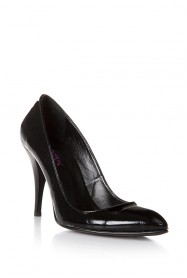 Sancha Siyah Rugan Kısa Topuklu Ayakkabı